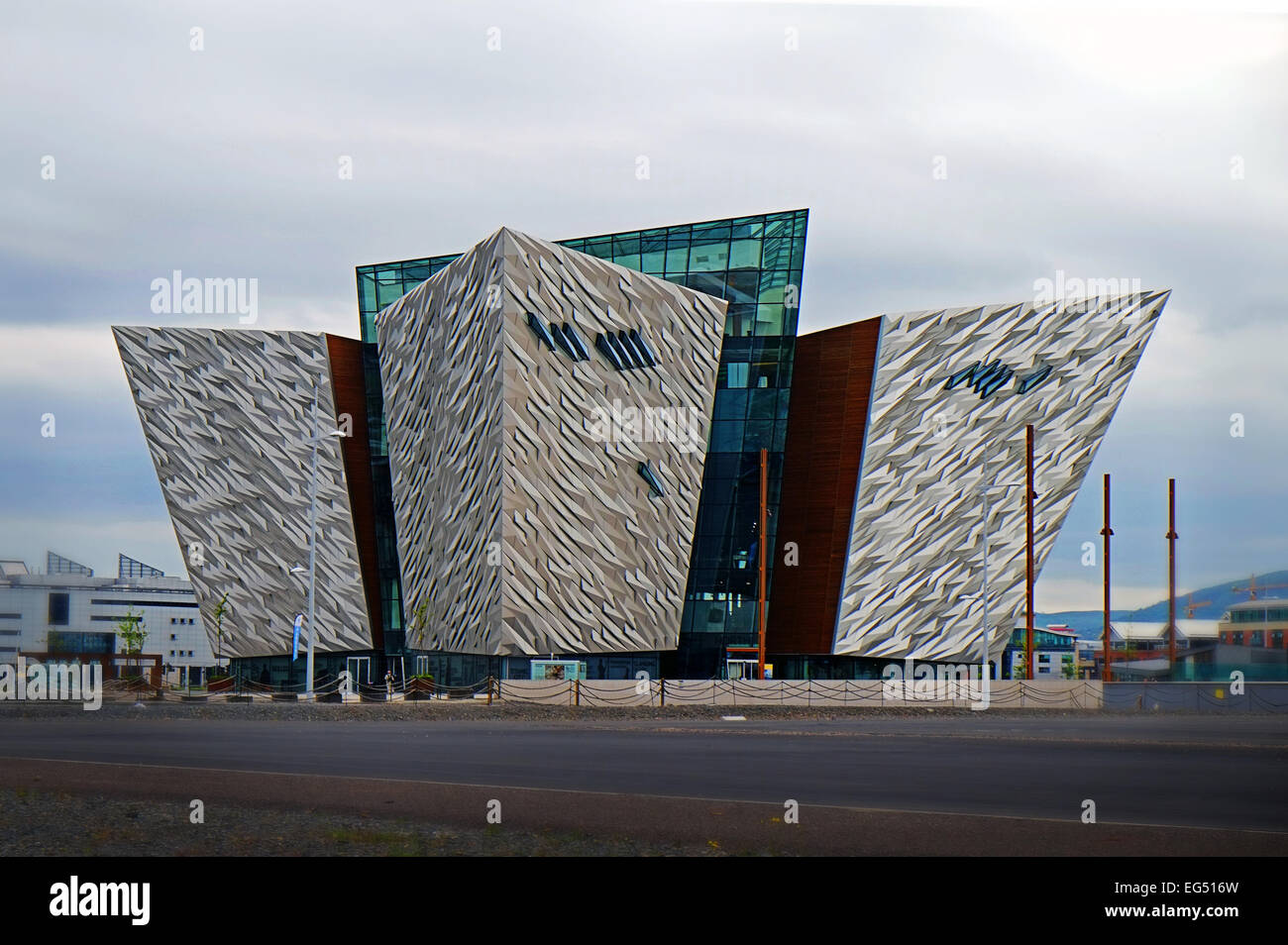 The futuristic Titanic museum building on the banks of the Lagan river in Belfast Northern Ireland. - Stock Image