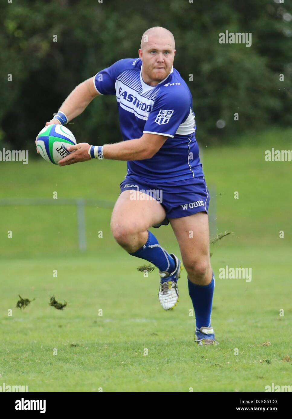 Sydney based Eastwood Rugby Club's First Grade Centre Blake Sutton on a charge. - Stock Image