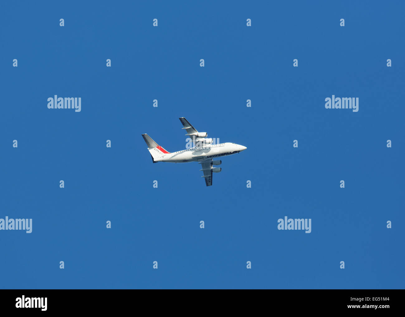 Cityjet Avro RJ85 / British Aerospace BAe 146 passenger aircraft flying over Southend, Essex, UK Stock Photo