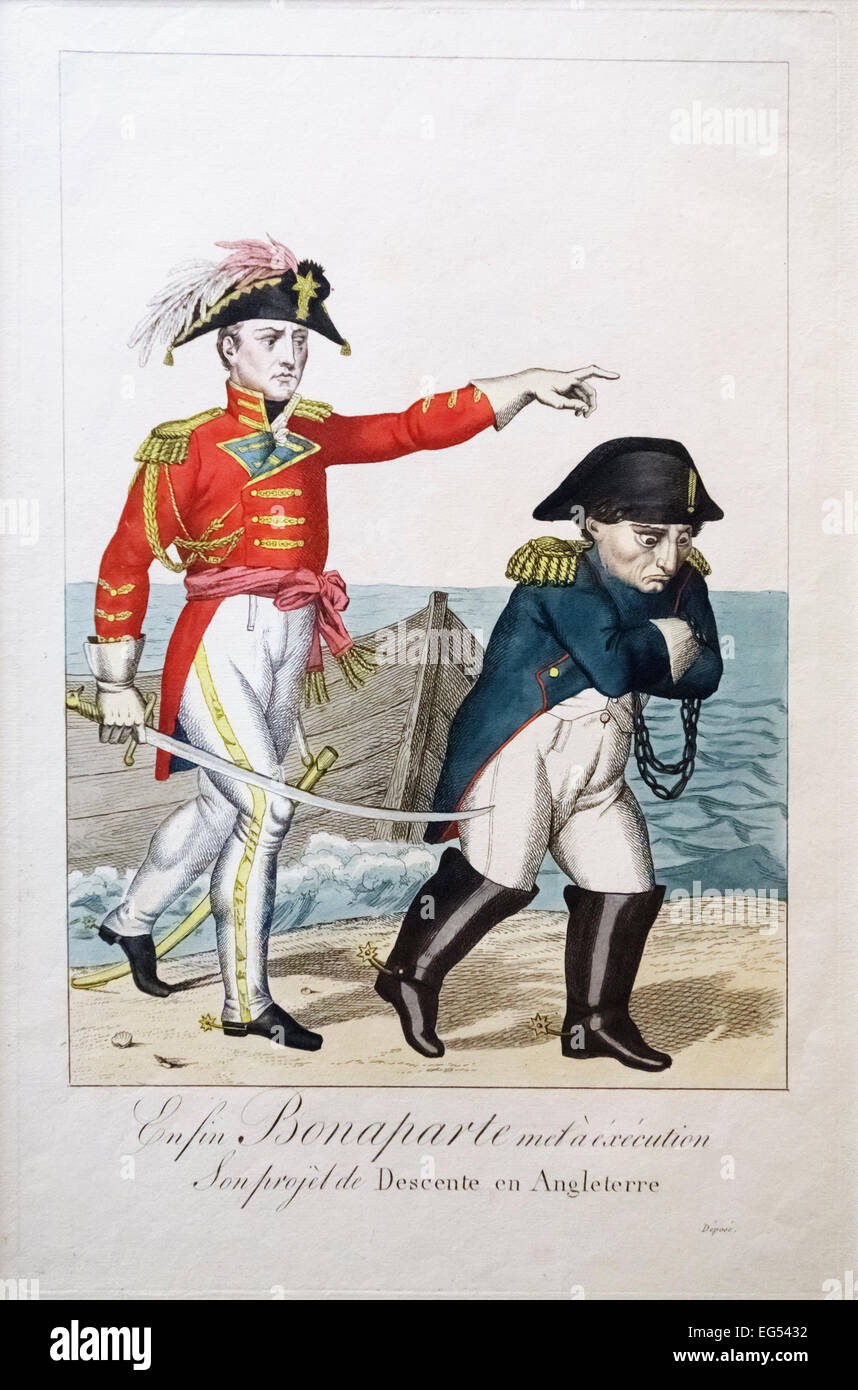 19c cartoon - after the Battle of Waterloo, Wellington sends a chained Napoleon off to exile - Stock Image