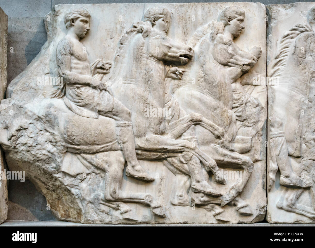 The British Museum, London, UK. A group of horsemen from the South Frieze of the Parthenon (Athens), part of the Stock Photo