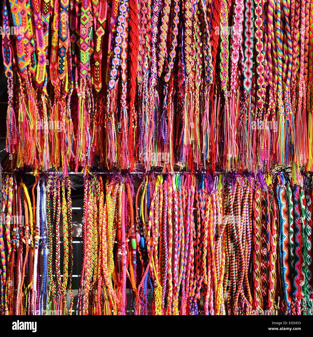 handcrafts belts and bracelets Mexican souvenirs - Stock Image