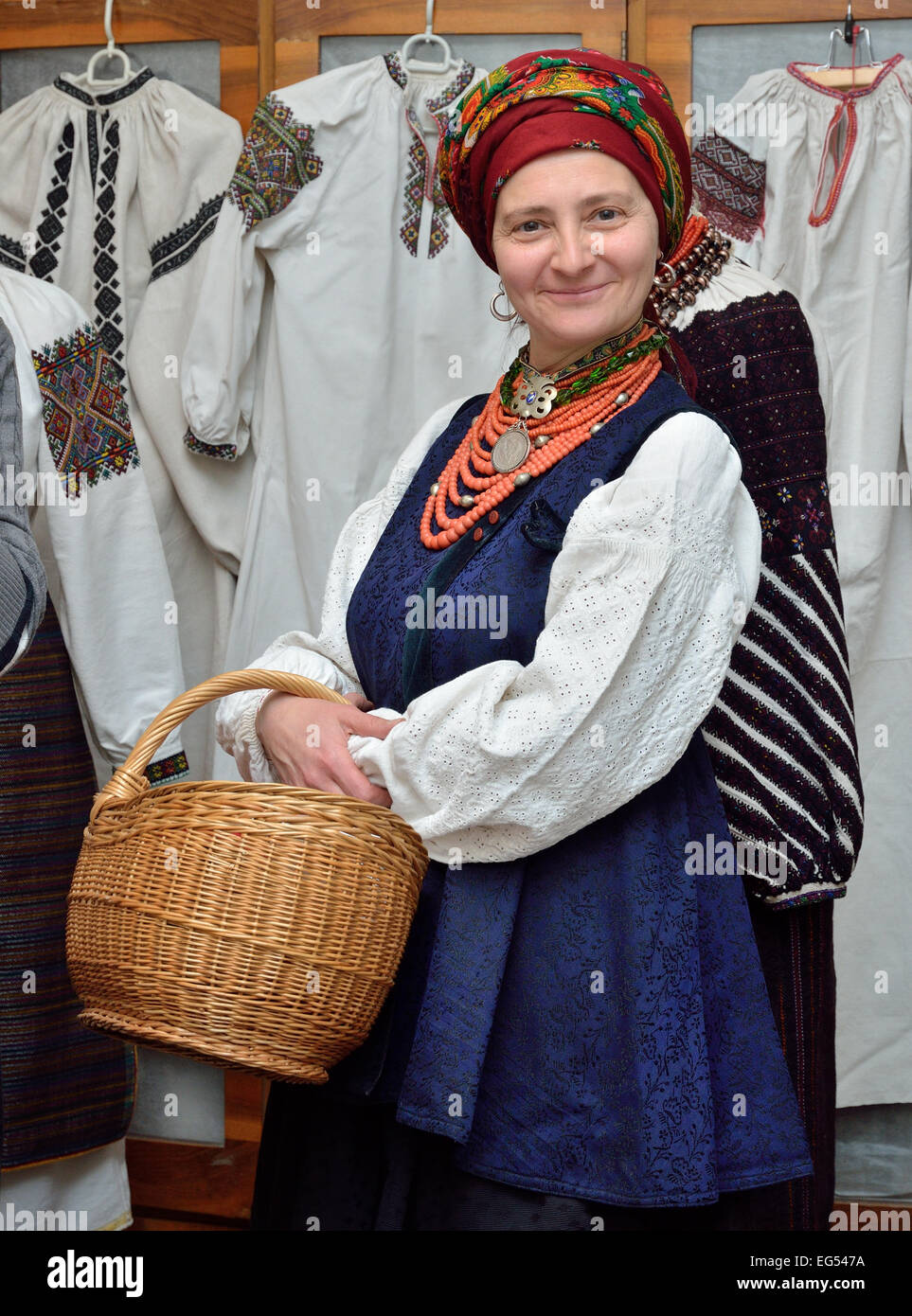 Ukrainian woman in the traditional garment - Stock Image