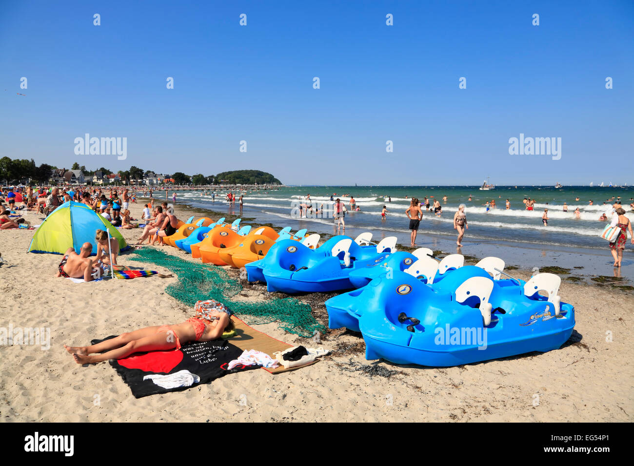 Pedal boats to rent at Travemuende beach, Baltic sea coast, Schleswig-Holstein, Germany,  Europe - Stock Image