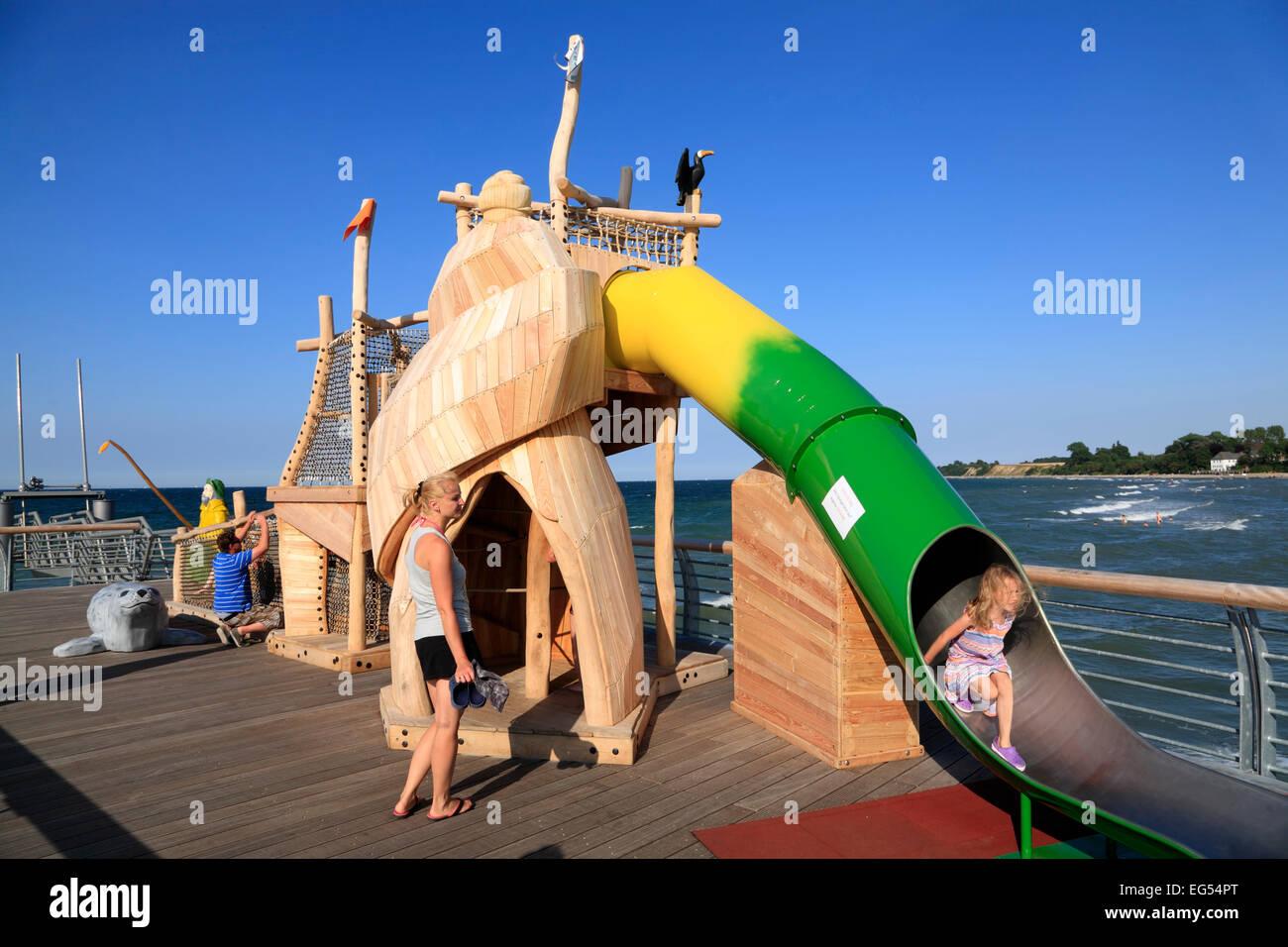 New pier in  Niendorf, Baltic Sea coast, Schleswig-Holstein, Germany, Europe Stock Photo