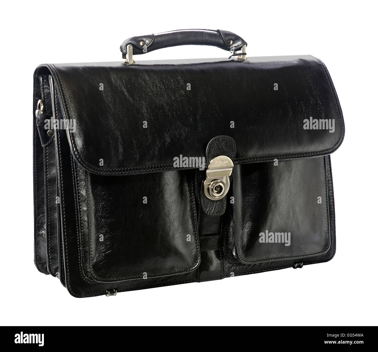 black leather briefcase - Stock Image