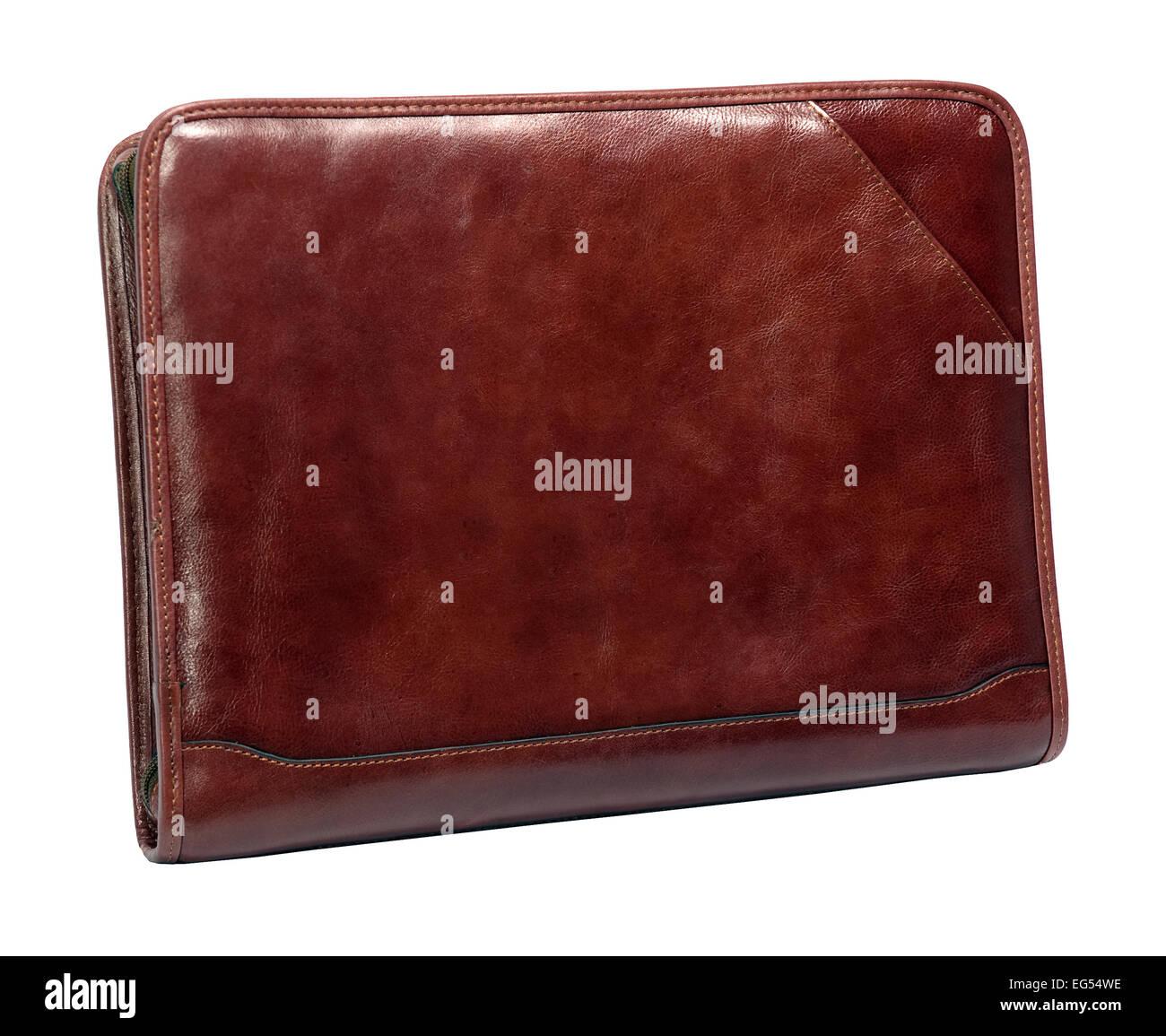 Leather conference folder folio - Stock Image