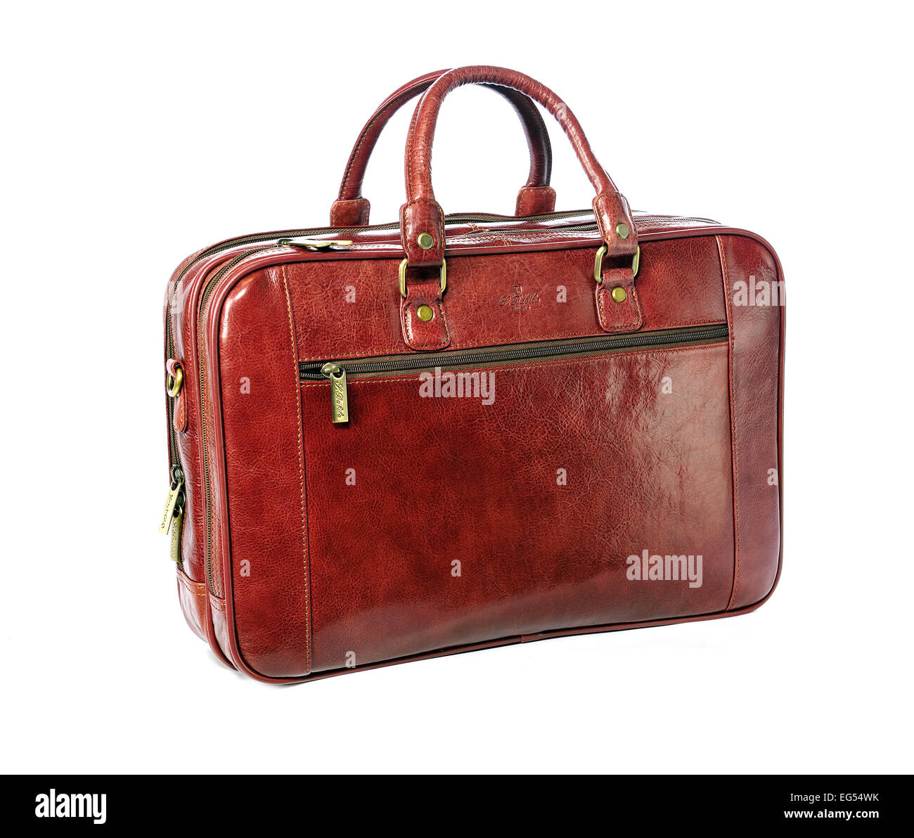 Tan / brown leather briefcase - Stock Image