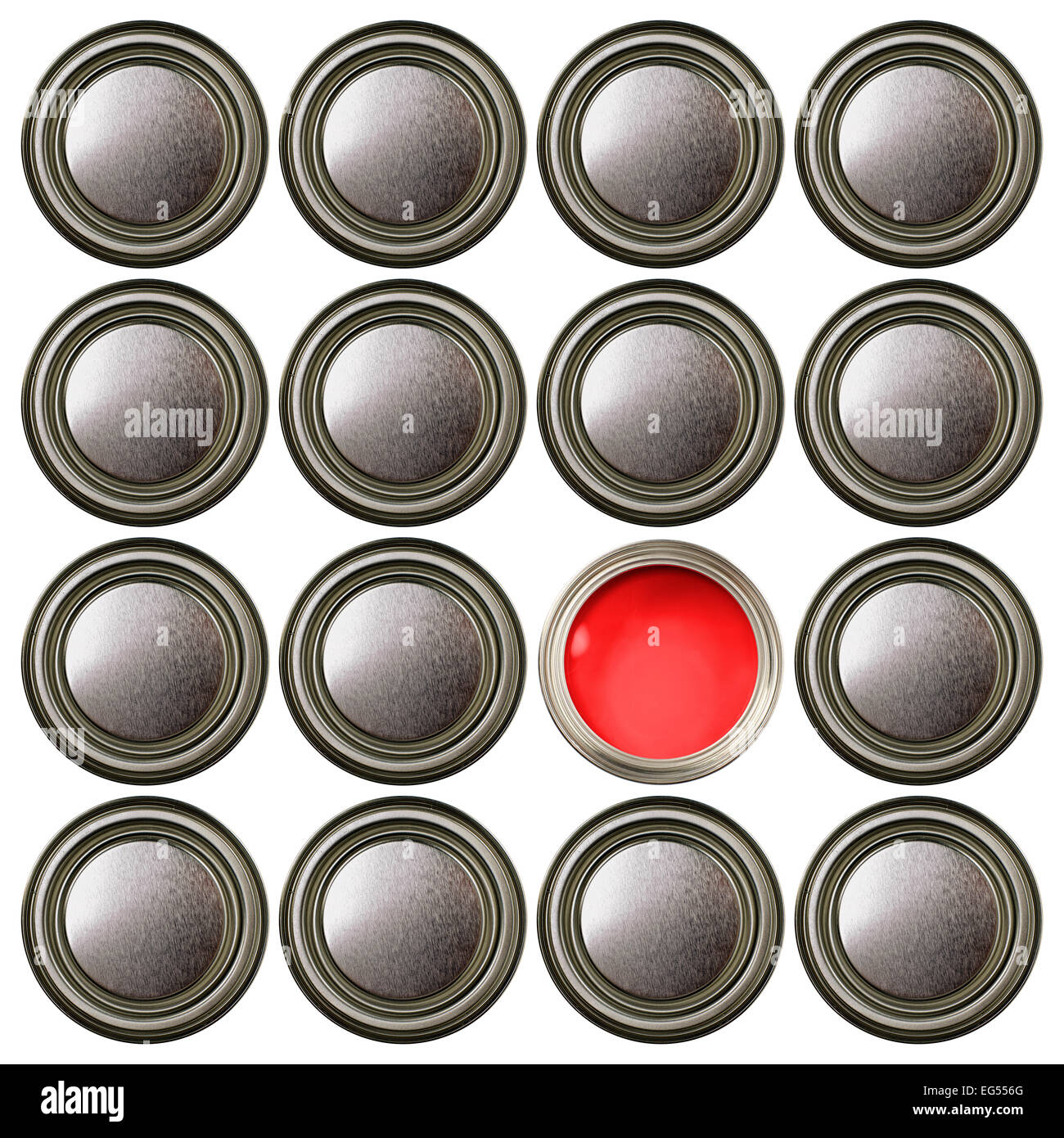 closed paint cans pots tins with one open showing red paint - Stock Image
