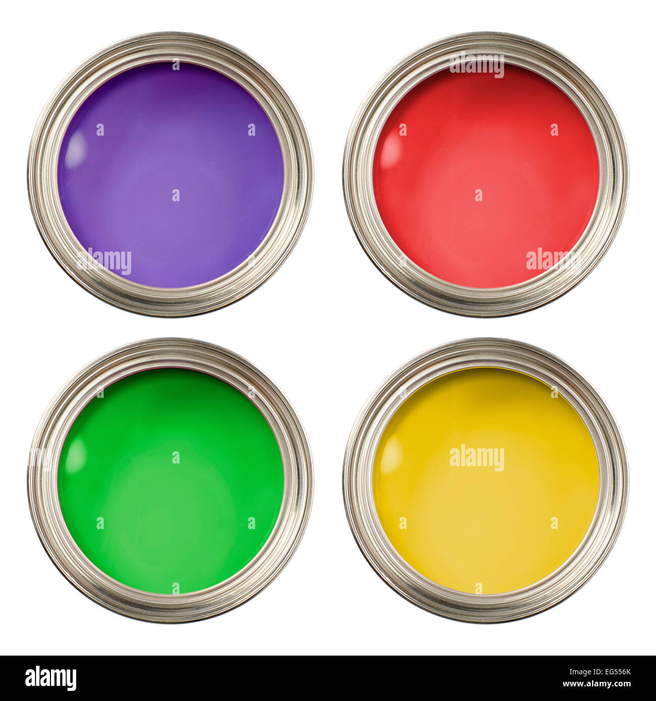 red green purple and yellow open paint tins cans pots - Stock Image