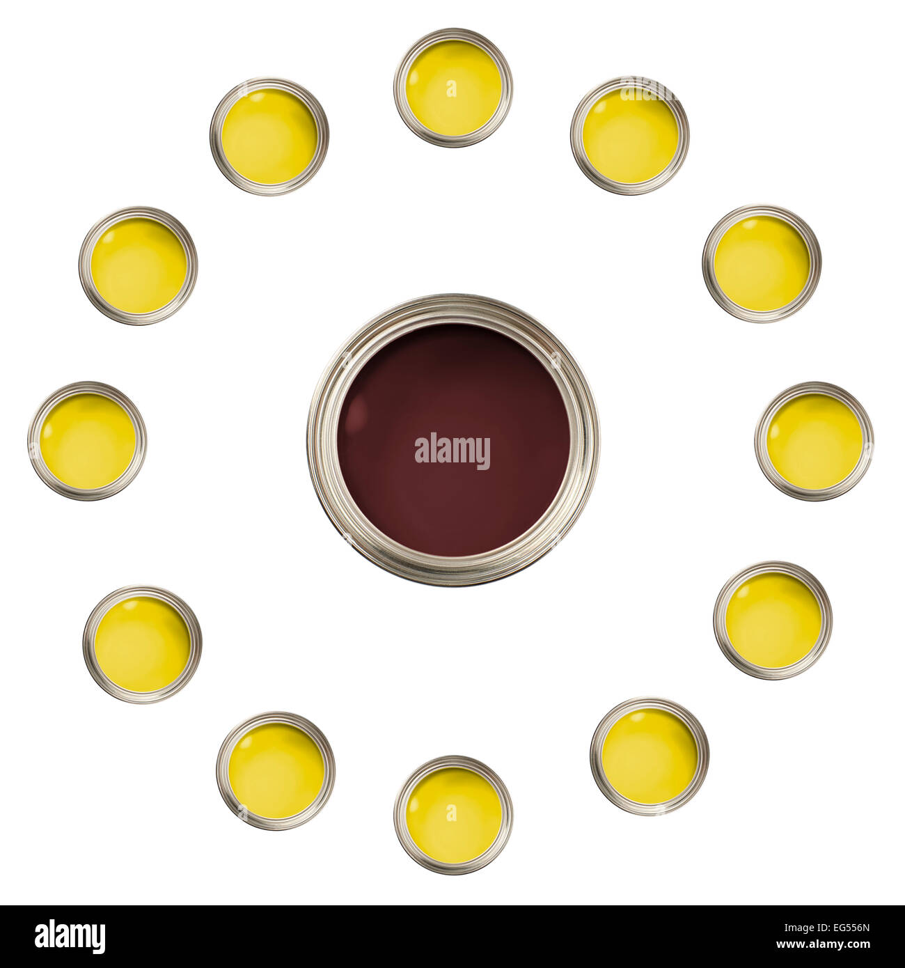 open brown and yellow paint cans pots tins in flower pattern - Stock Image