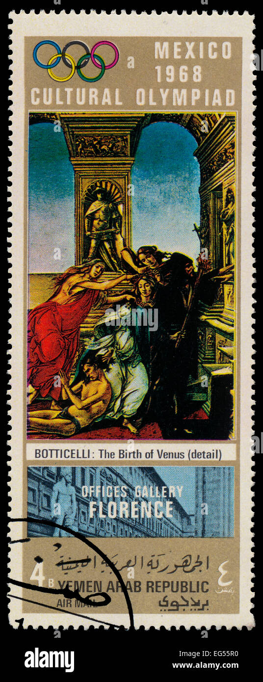 YEMEN ARAB REPUBLIC - CIRCA 1968: A stamp printed in Yemen Arab Republic shows The Birth of Venus - detail - by Stock Photo