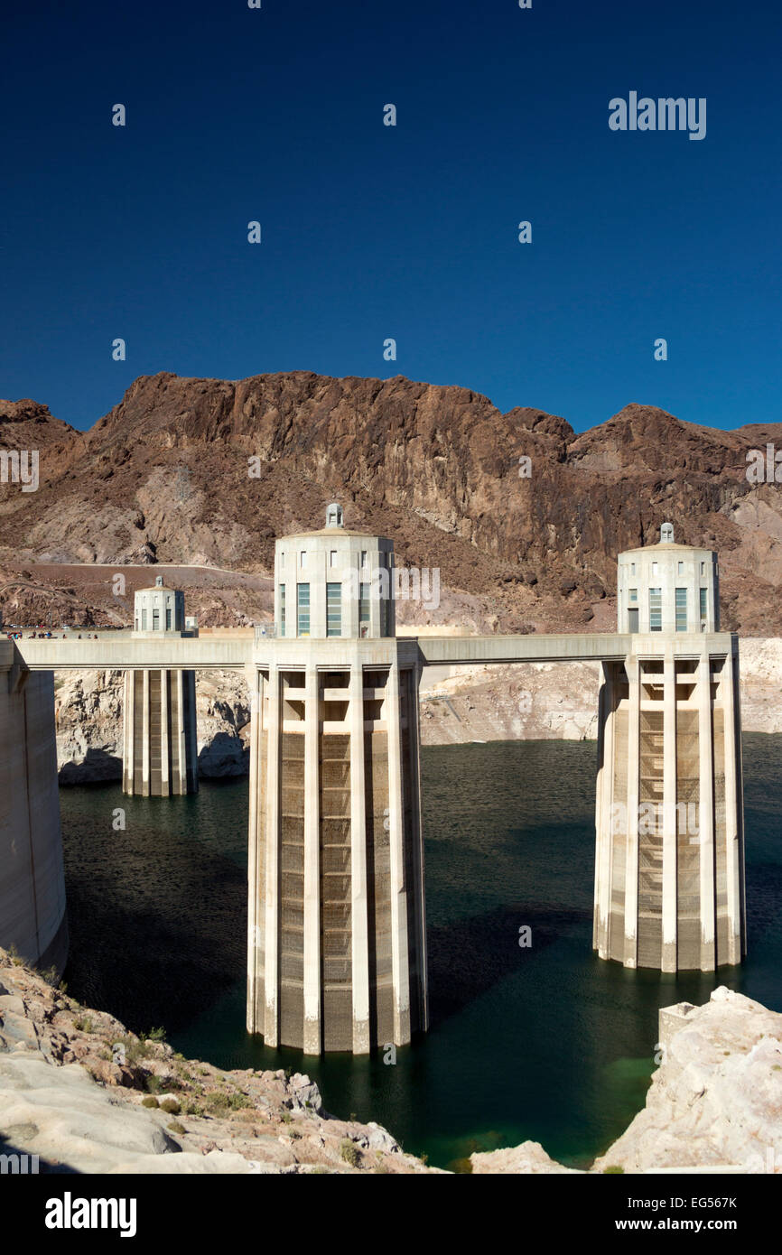 WATER INTAKE TOWERS HOOVER DAM BLACK CANYON LAKE MEAD NEVADA USA 10/2014 Stock Photo
