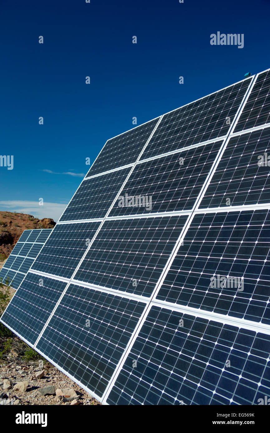 CLOSE UP SOLAR POWER GENERATION PANEL ARRAY NATIONAL  RECREATION AREA VISITOR CENTER  LAKE MEAD NEVADA USA - Stock Image