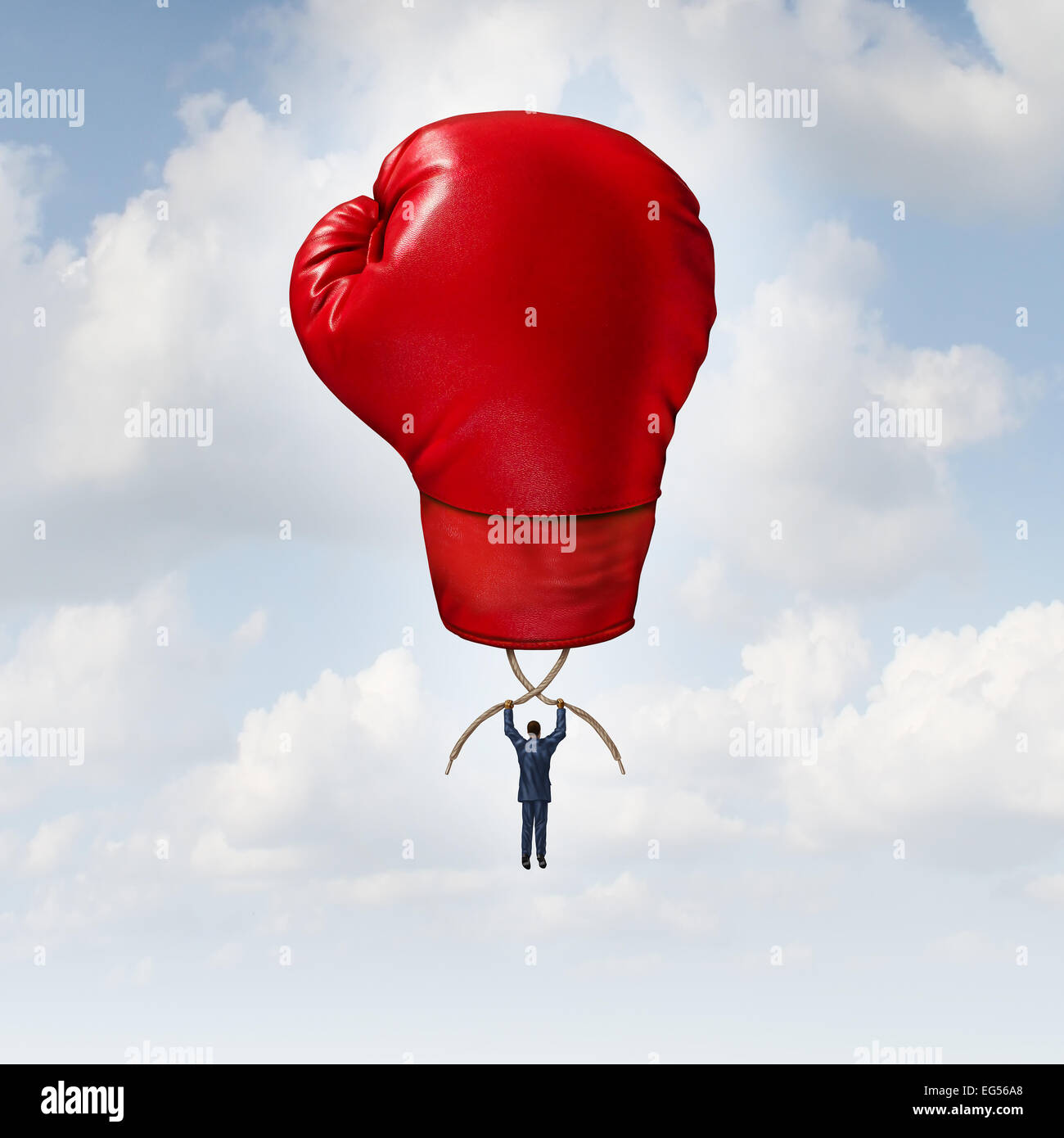 Businessman competing success as a professional person rising up to the sky using an air balloon shaped as a boxing - Stock Image
