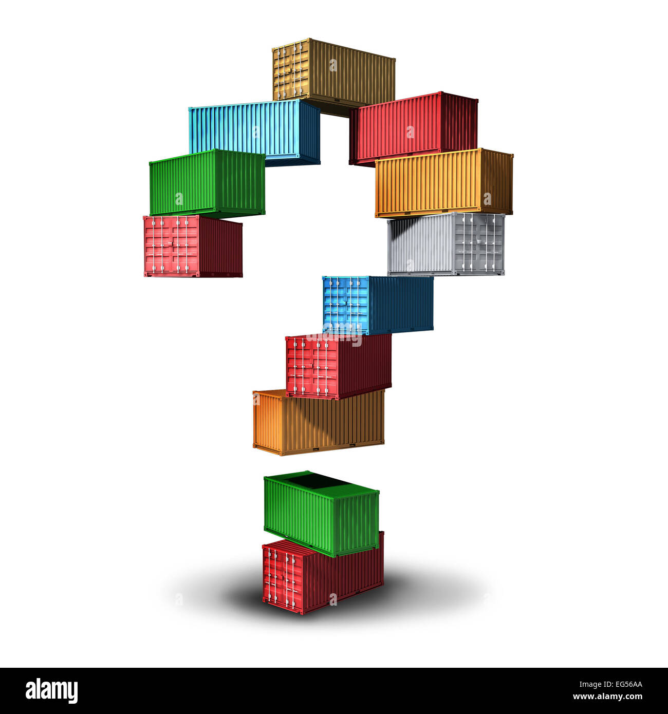 Cargo question concept and shipment information symbol as a group of transport shipping containers stacked in the - Stock Image