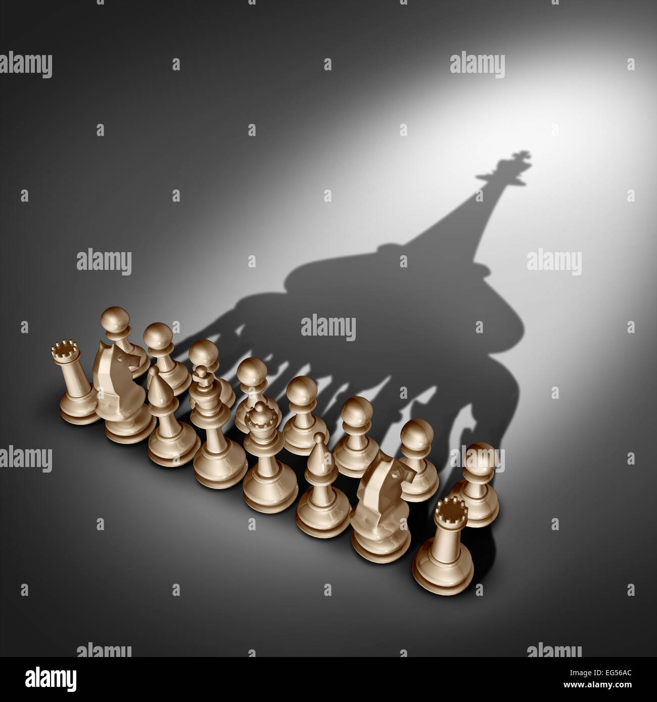 Company leadership and team management vision as a business group concept with chess set pieces joining and working - Stock Image