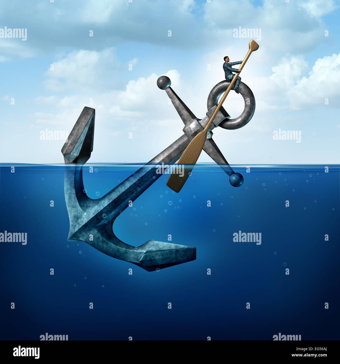 Positive thinking and resilience business concept with a person on a floating anchor rowing with a paddle as a symbol - Stock Image
