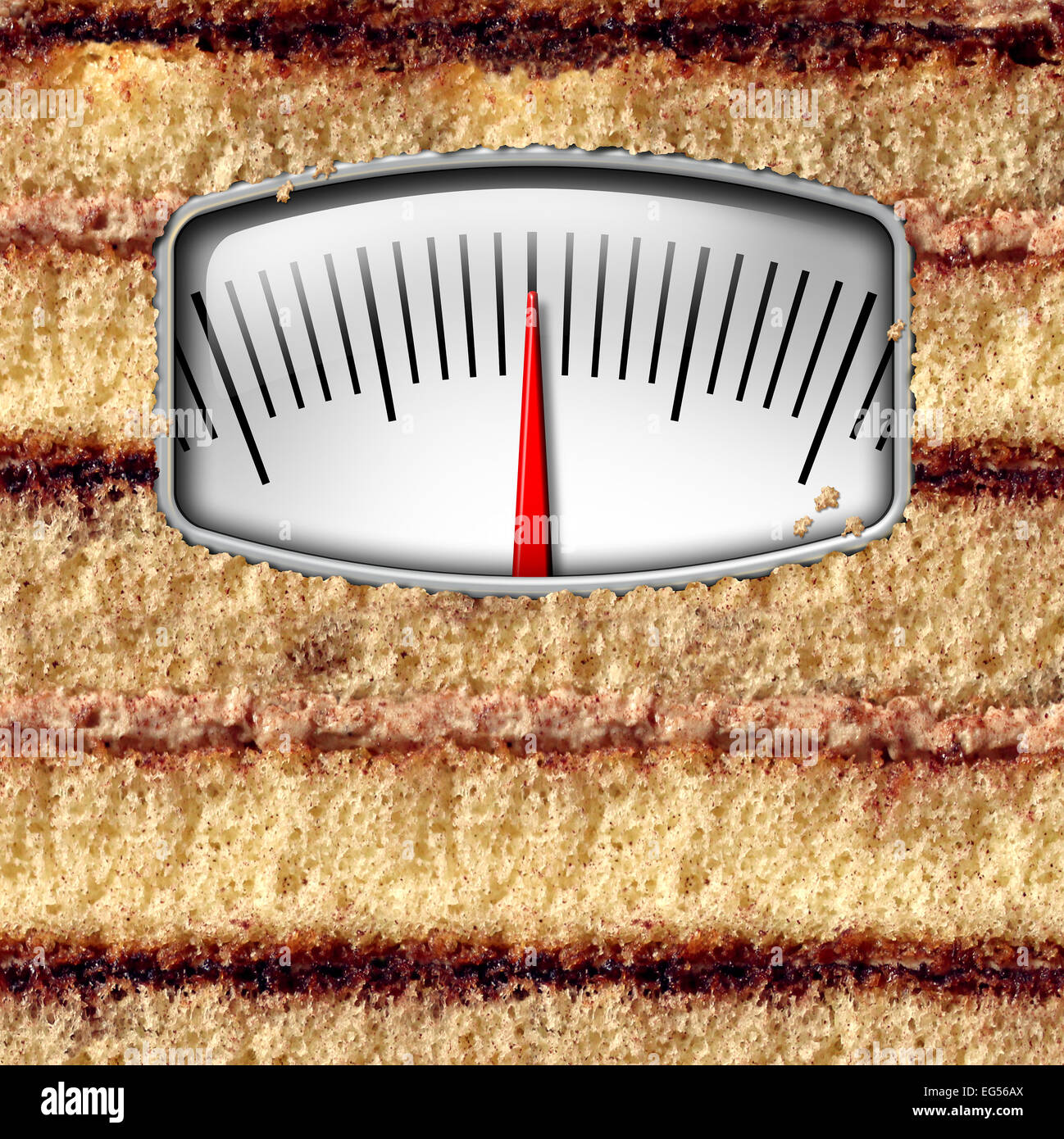 Diet weight scale concept and counting calories symbol as a cake with a kilogram or pound measurement equipment - Stock Image