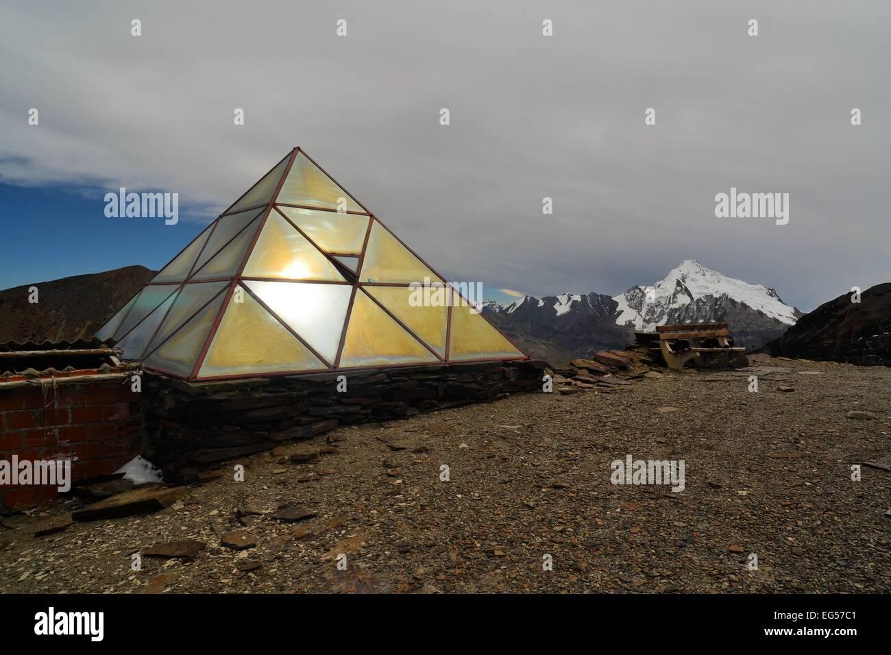 weather station on chacaltaya peak, highest ski resort in the world