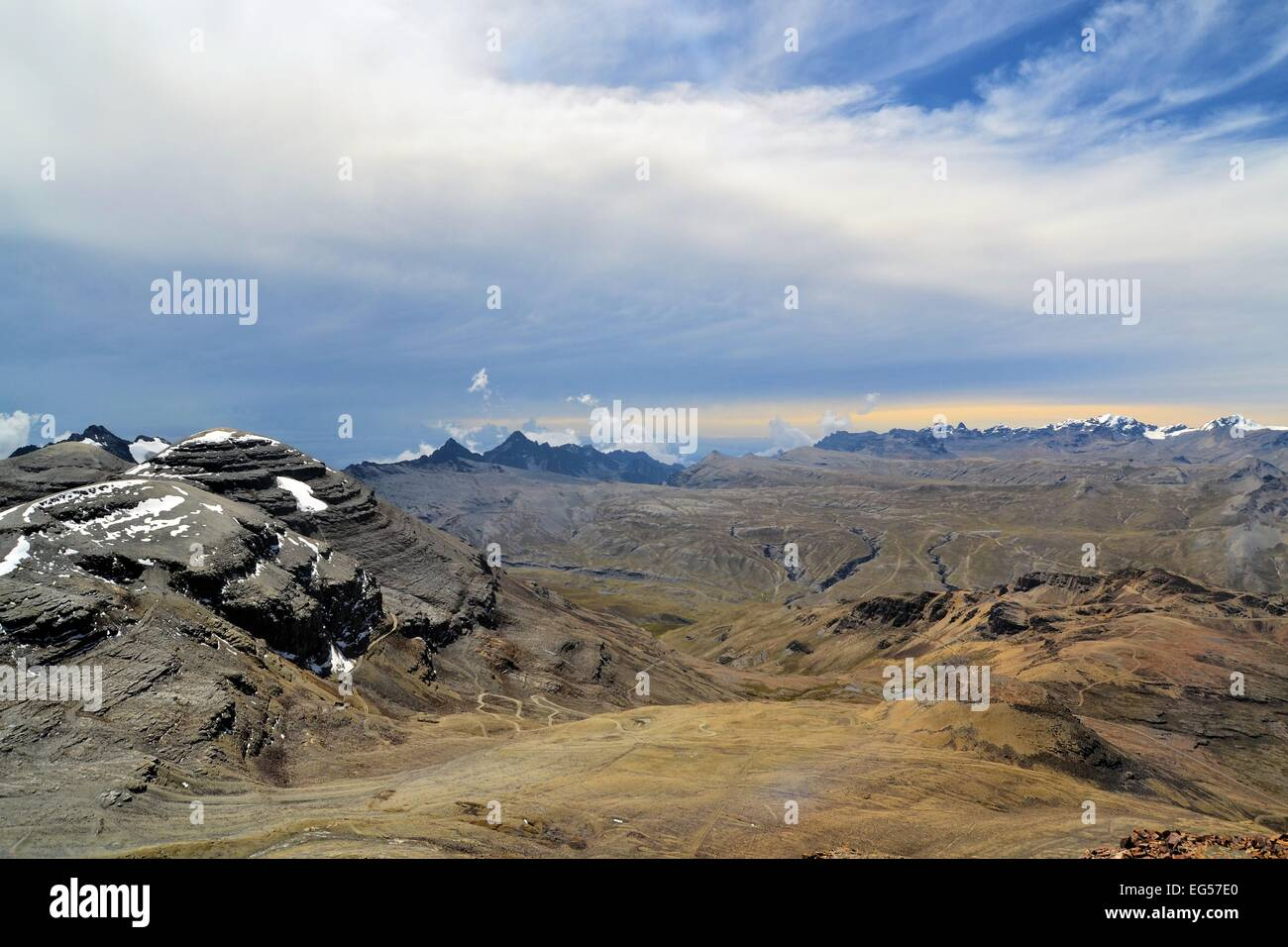 View of Huayna Potosi in Cordillera Real from Chacaltaya Range near La Paz, Bolivian Andes - Stock Image