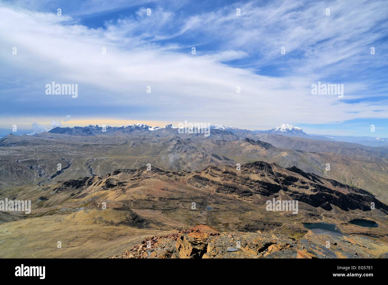 View of Huayna Potosi in Cordillera Real from Chacaltaya Range near La Paz, Bolivian Andes Stock Photo