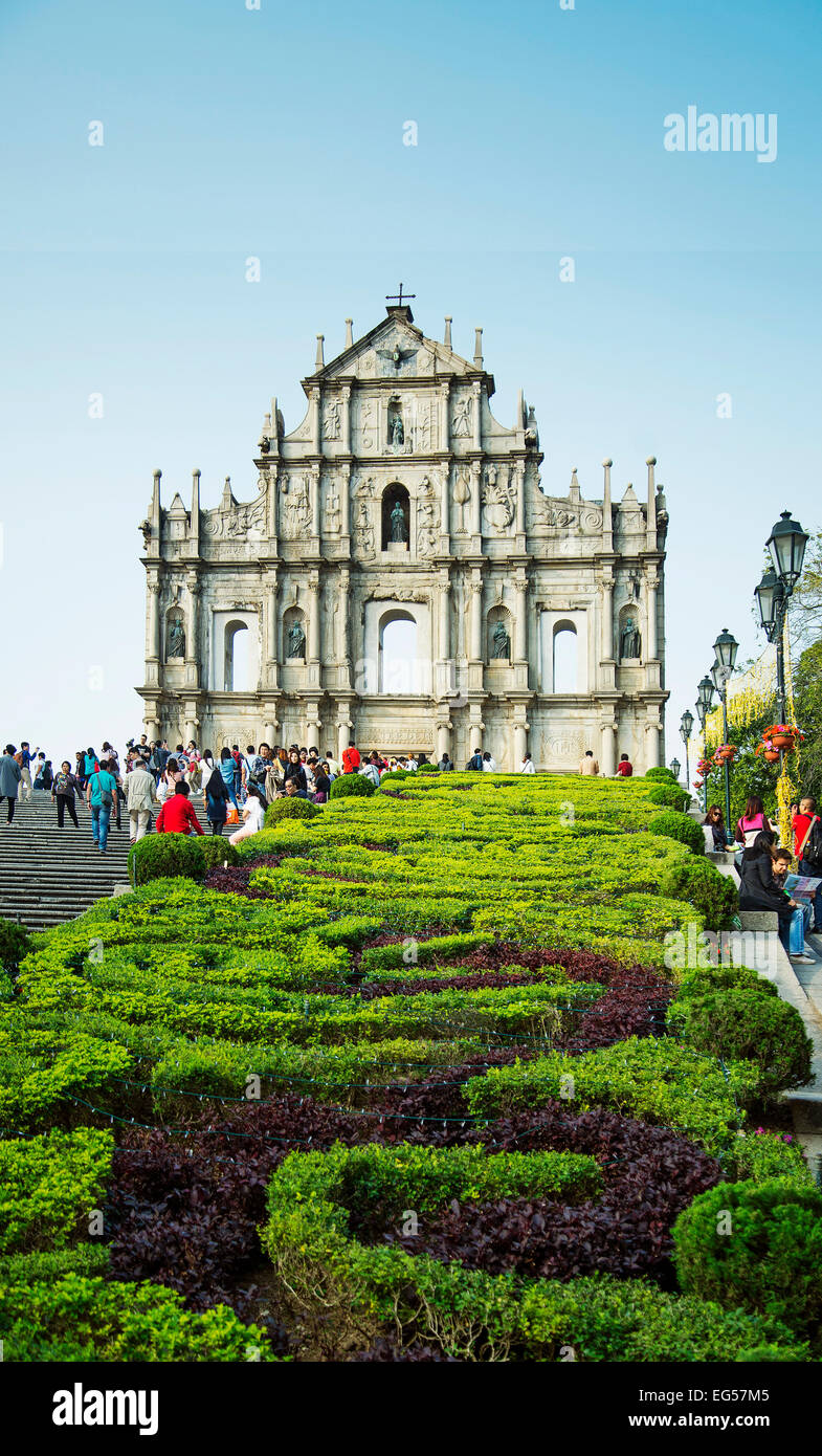 ruins of st paul's gate portuguese colonial landmark in macau china - Stock Image