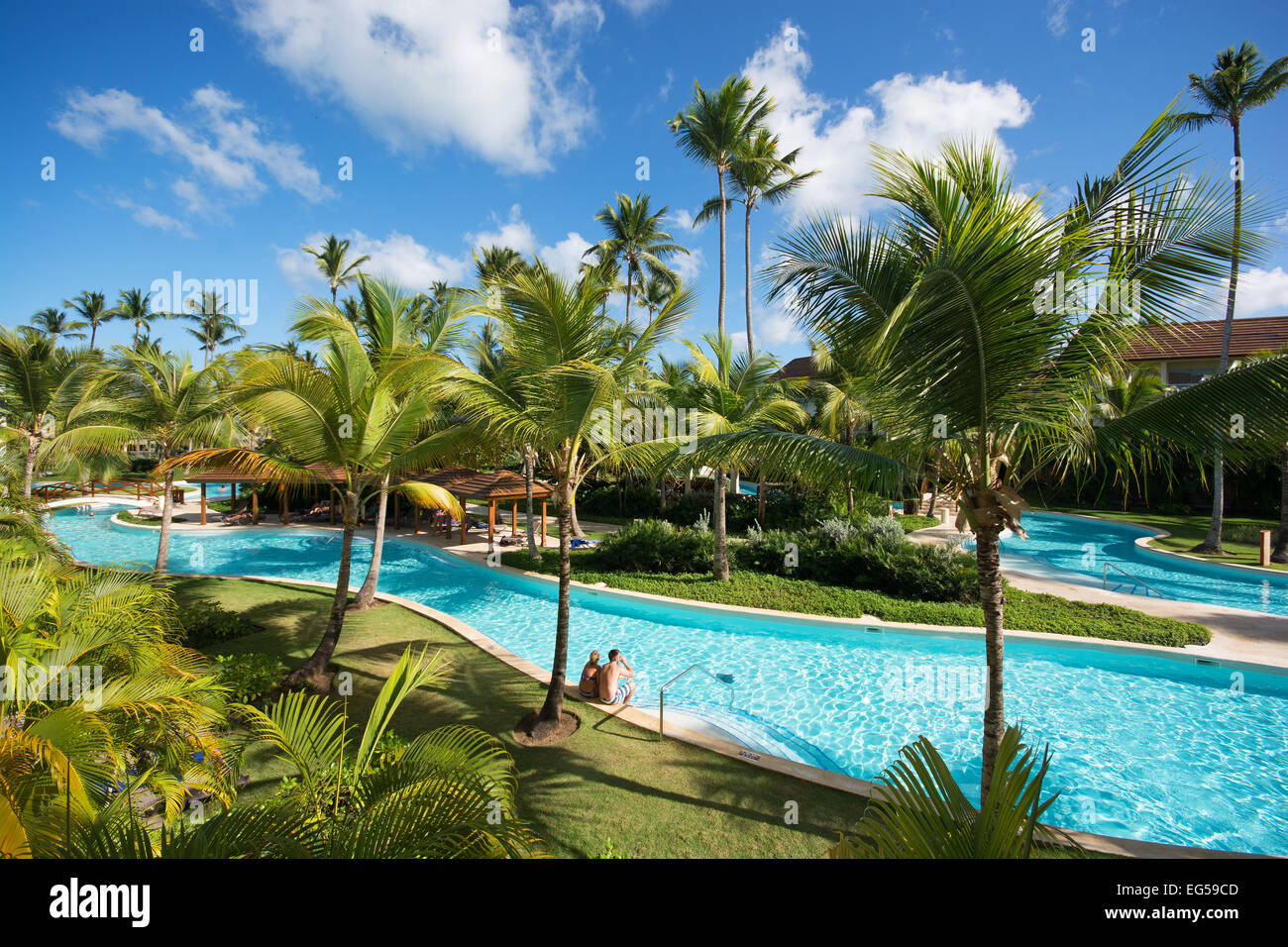 DOMINICAN REPUBLIC. A river-style swimming pool in the ...