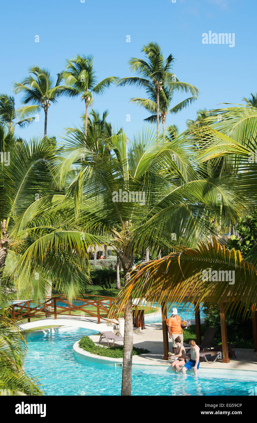 DOMINICAN REPUBLIC. River-style swimming pool at Secrets Royal Beach adults-only resort, Punta Cana. 2015. - Stock Image