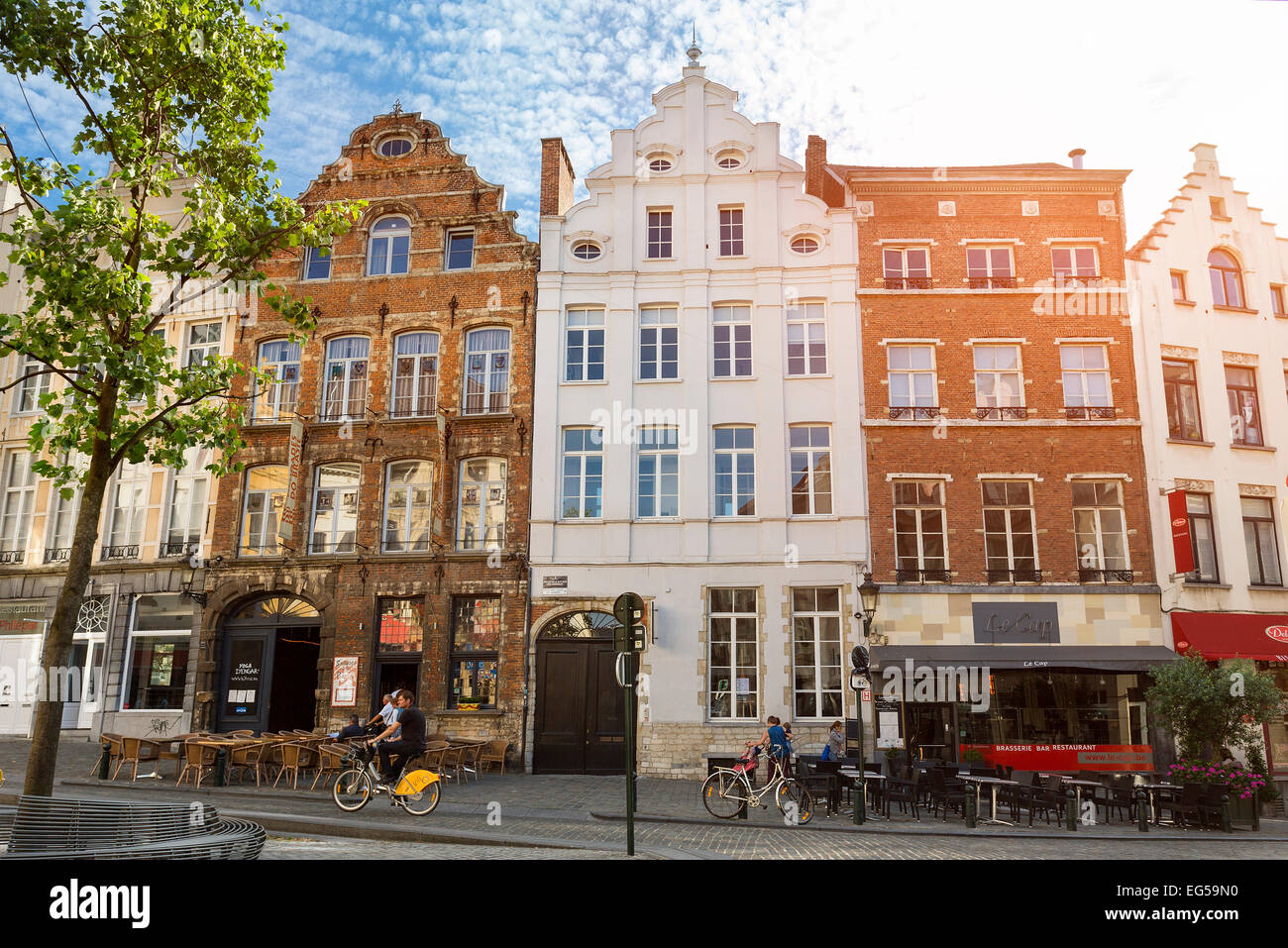 Brussels Buildings Facades Stock Photo