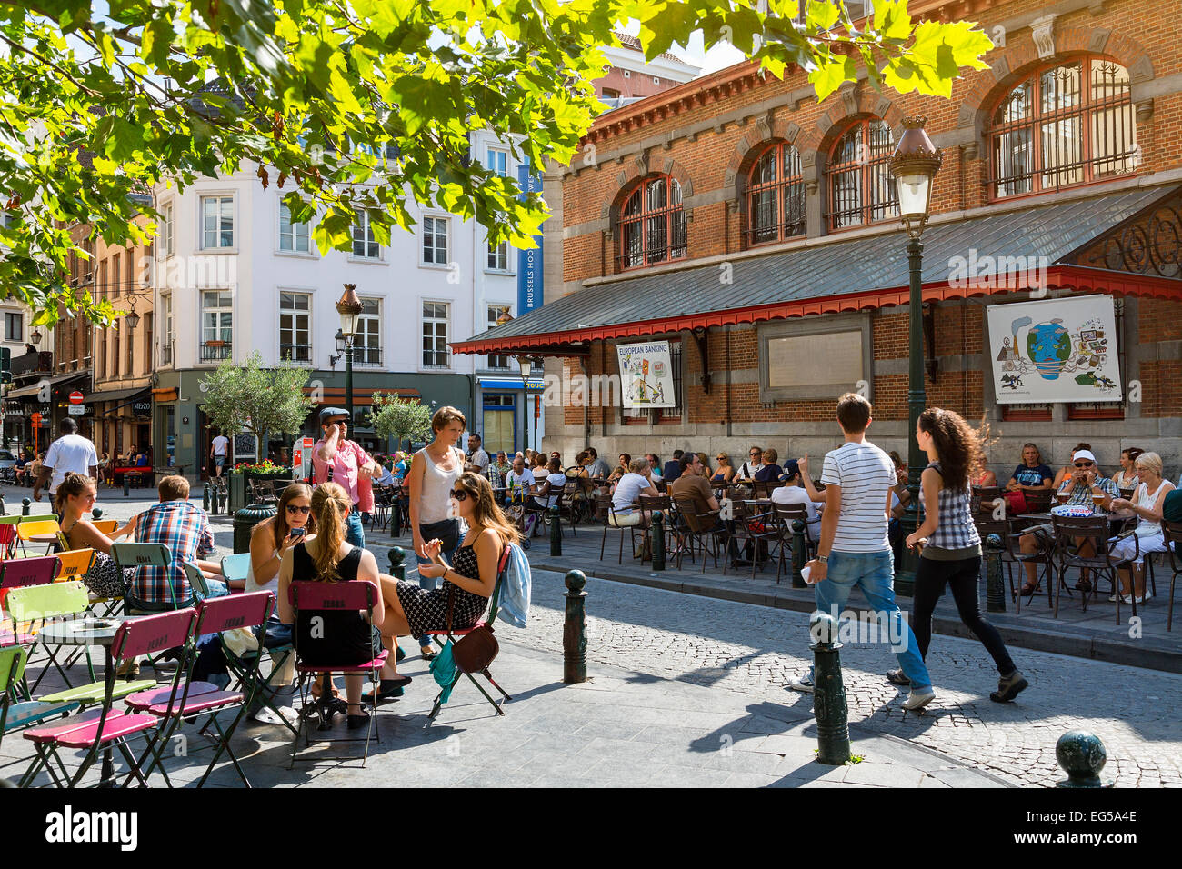 Brussels, Place St Gery at lunchtime Stock Photo