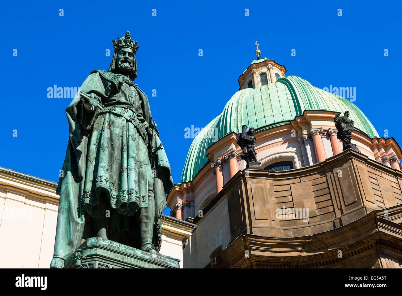 Statue Charles IV in Knights of the Cross Square, Prague - Stock Image