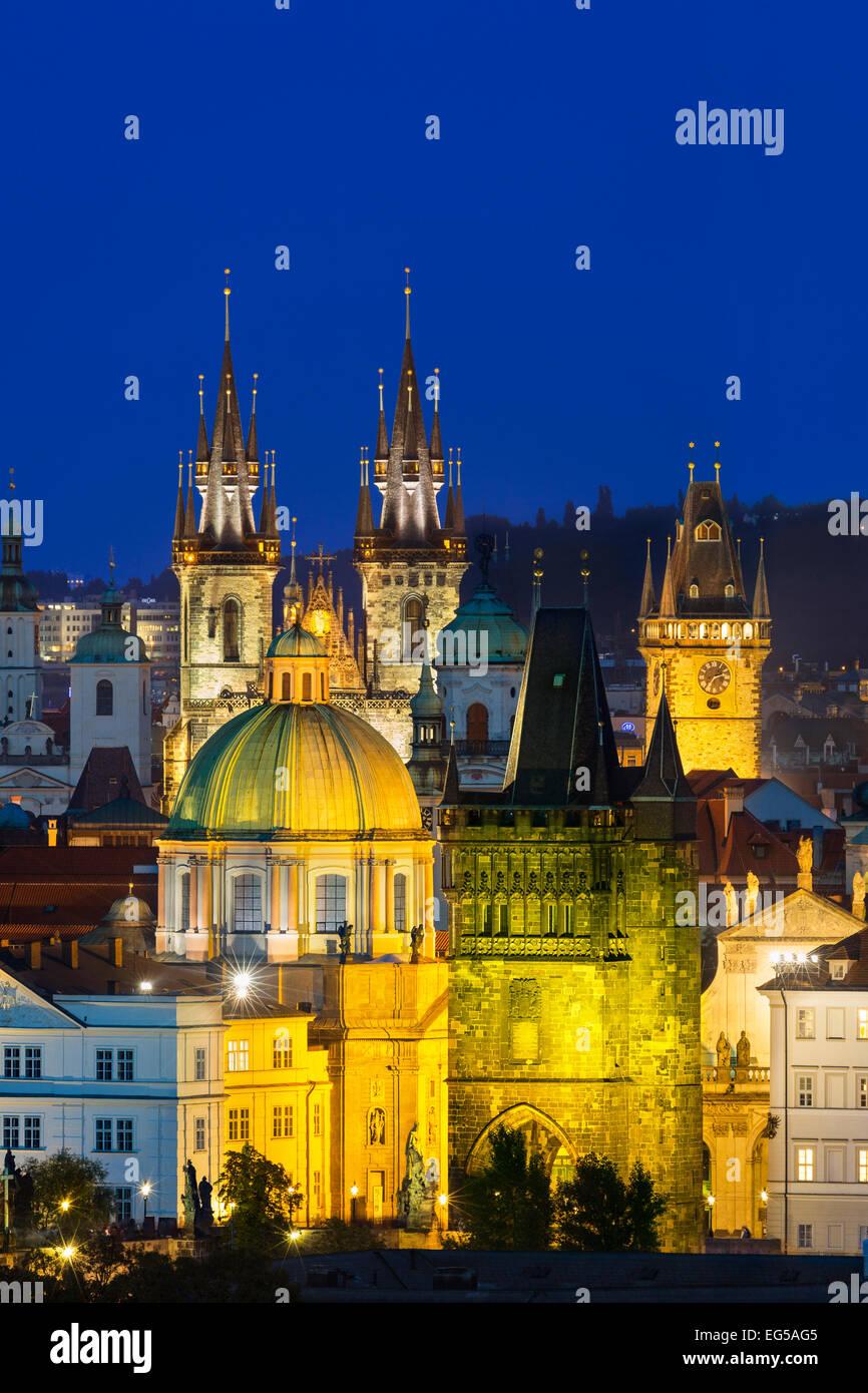Skyline of Prague at dusk - Stock Image