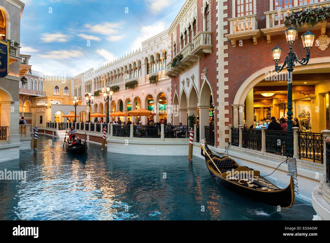Gondola at The Venetian Hotel, Las Vegas, USA - Stock Image