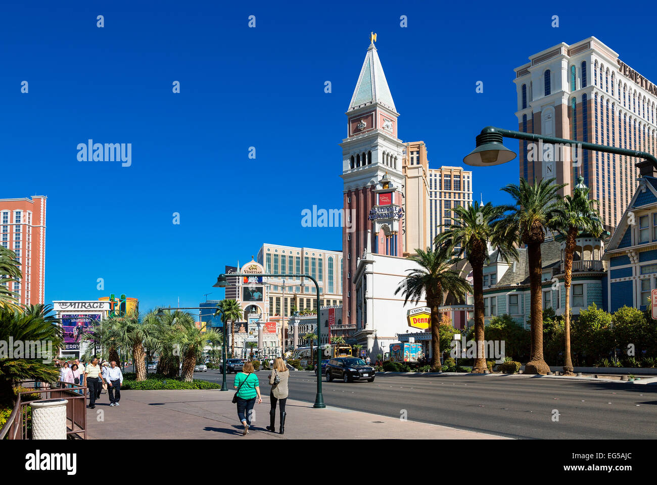Luxury Hotels and the famous Las Vegas Strip - Stock Image