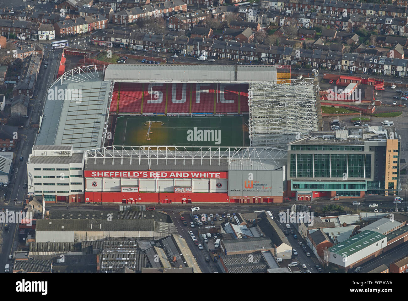 An aerial view of Bramall Lane in South Yorkshire. Home of Sheffield United FC, otherwise known as The Blades - Stock Image