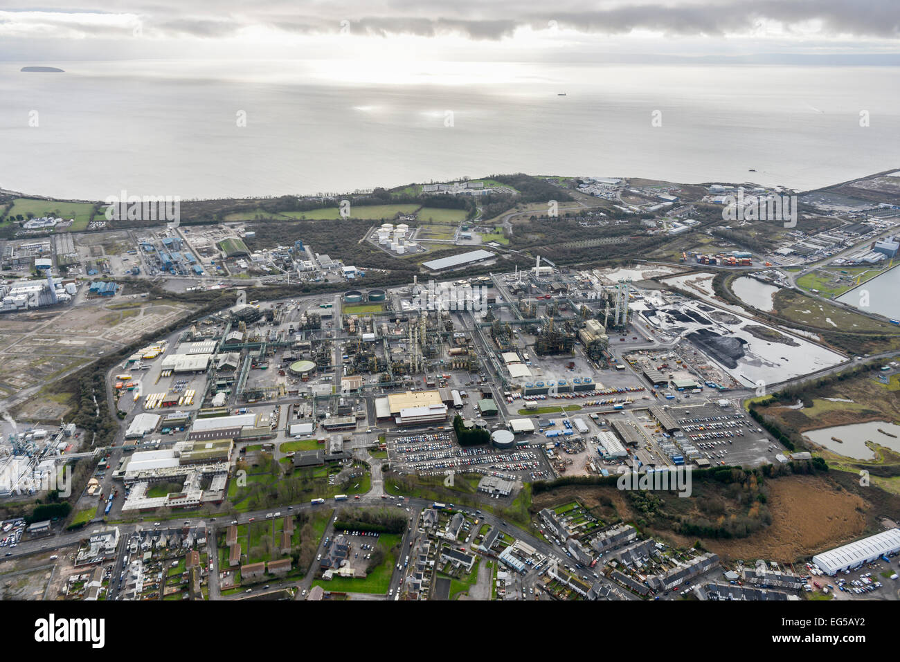 An aerial view of the Dow Corning Chemical Works, Barry, South Wales - Stock Image