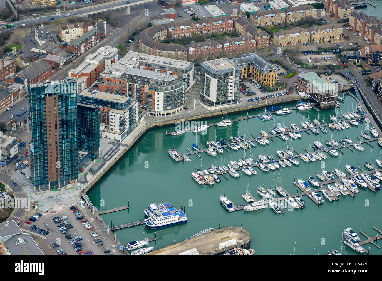 An aerial view of the Ocean Village Marina in Southampton - Stock Image
