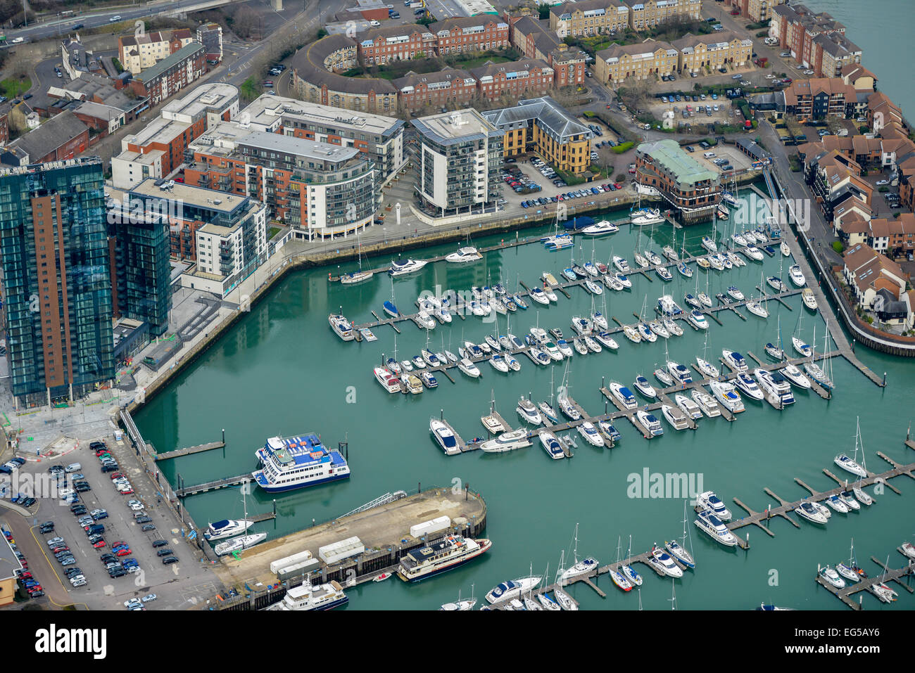 An aerial view of the Ocean Village Marina in Southampton Stock Photo