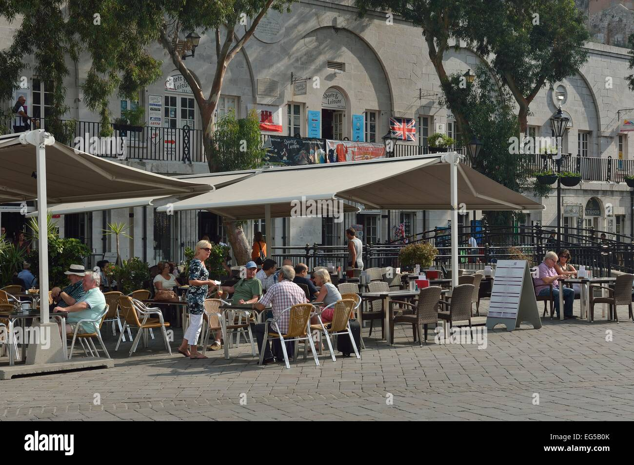 cafes Casemates Square Gibraltar UK Overseas Territory - Stock Image