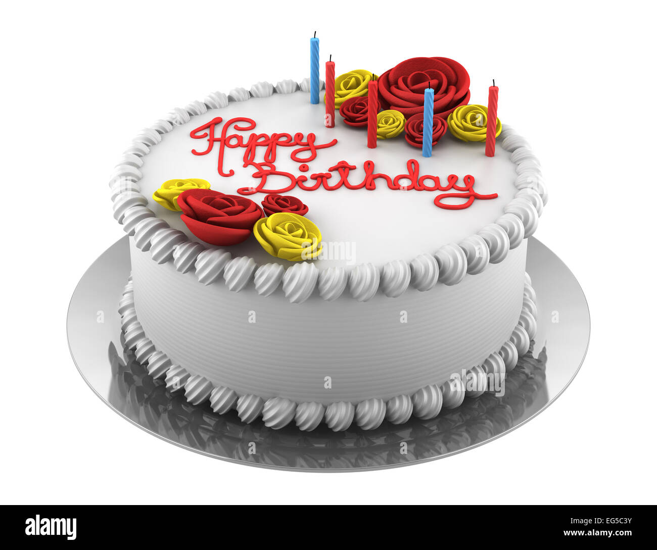 Round Birthday Cake With Candles Isolated On White Background Stock