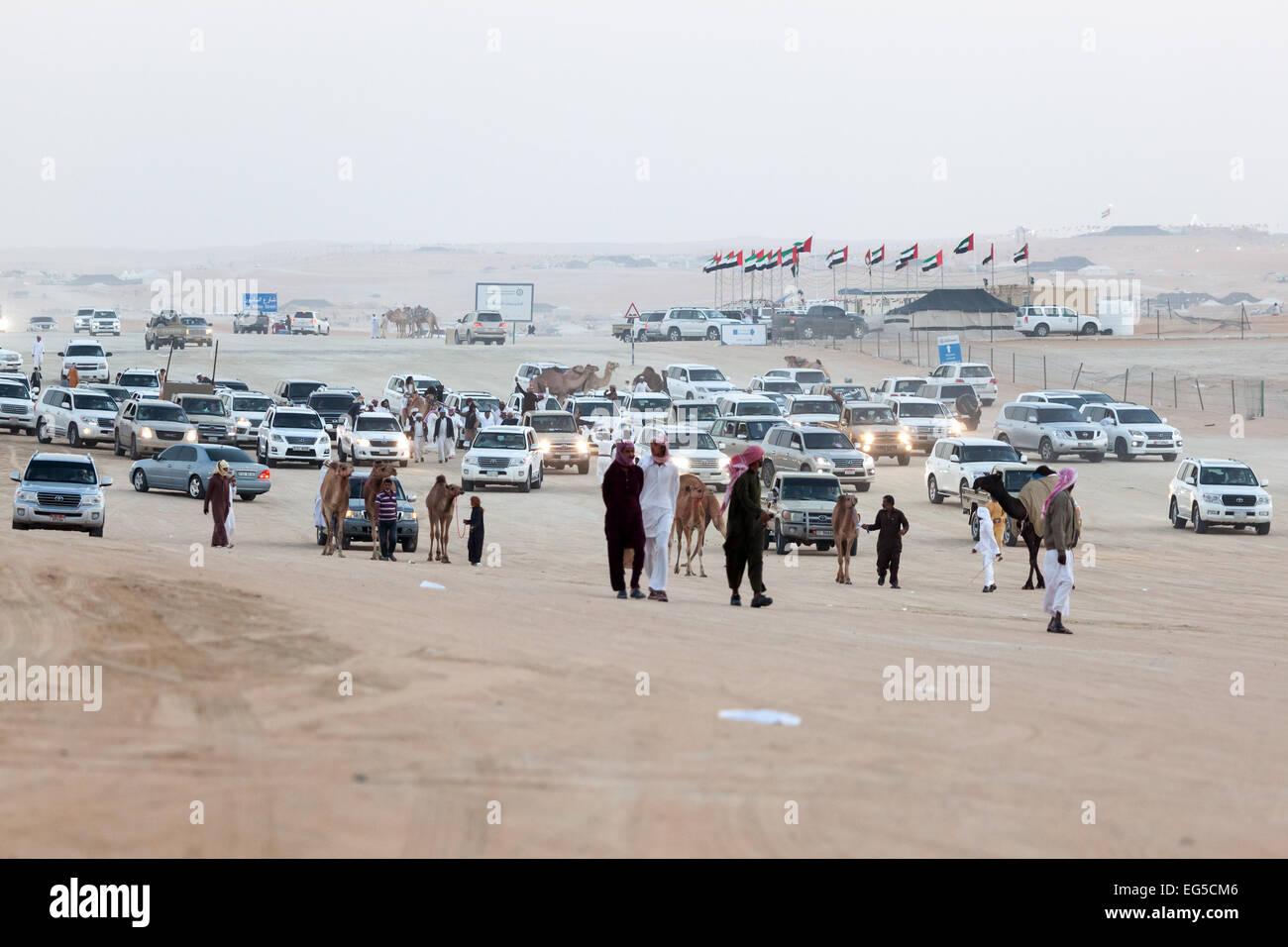 Emirati people in their cars at Al Dhafra Camel Festival in Al Gharbia. Stock Photo