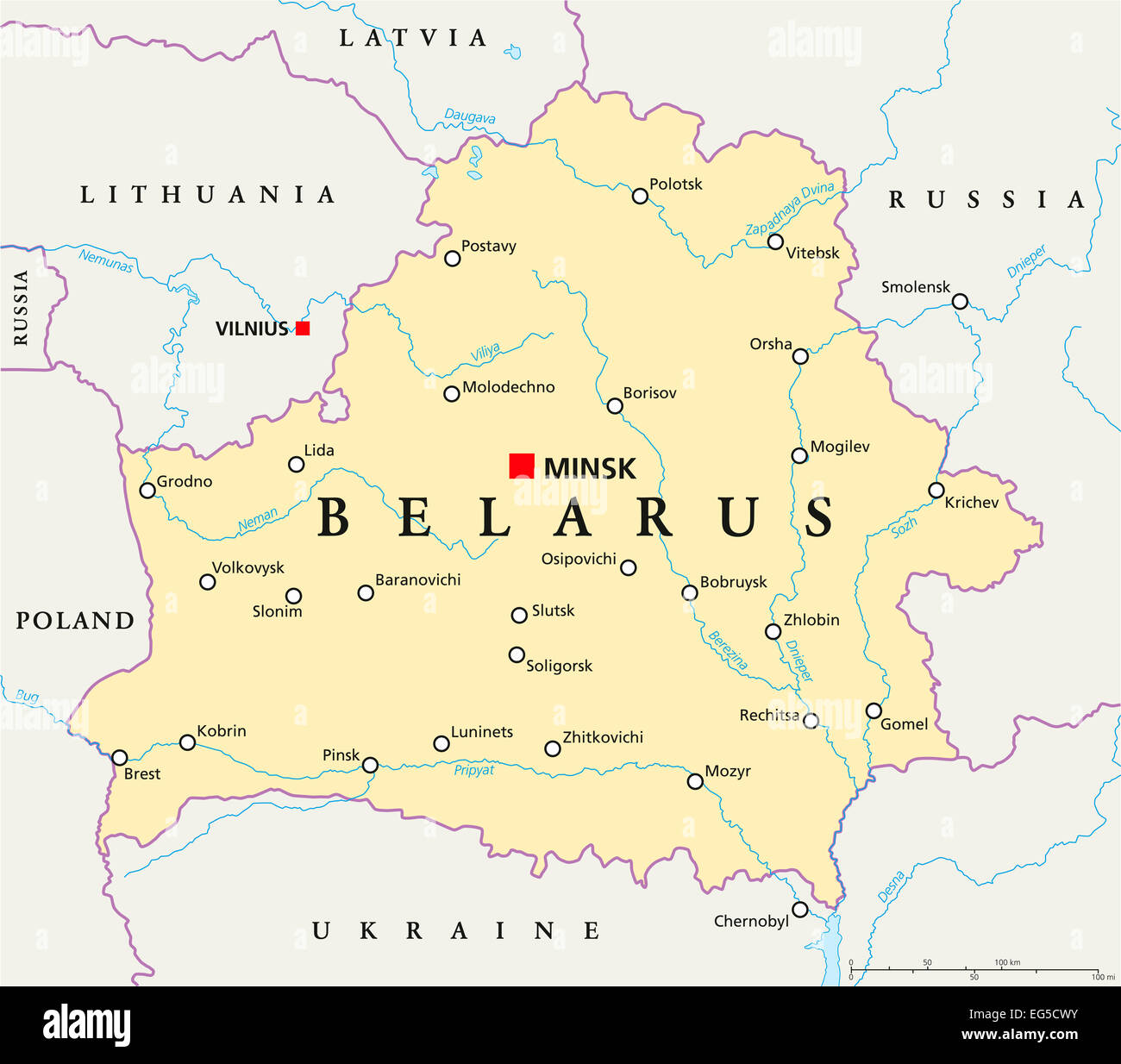 Belarus Political Map with capital Minsk, national borders