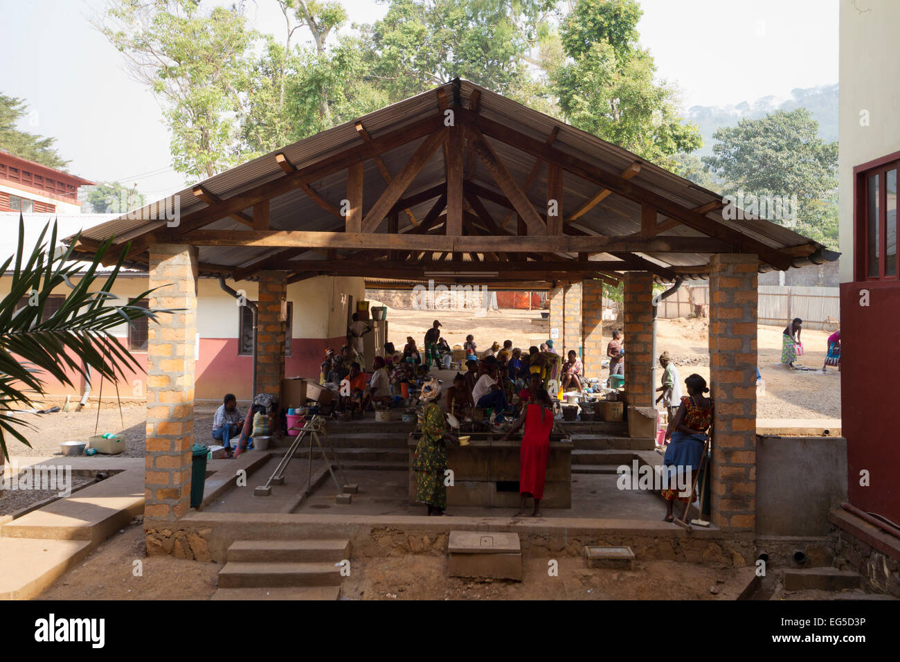 A kitchen outside at the General Hospital MSF  of Bangui ,Central African Republic ,Africa - Stock Image