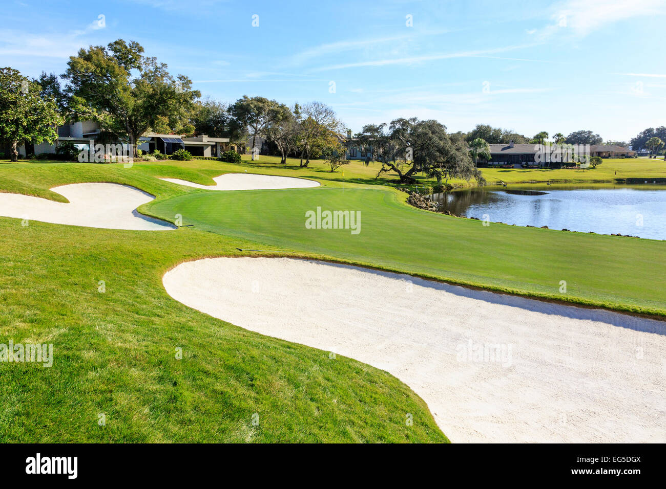 Iconic 18th green at Arnold Palmers Bay Hill Golf Course, Orlando, Florida, America - Stock Image