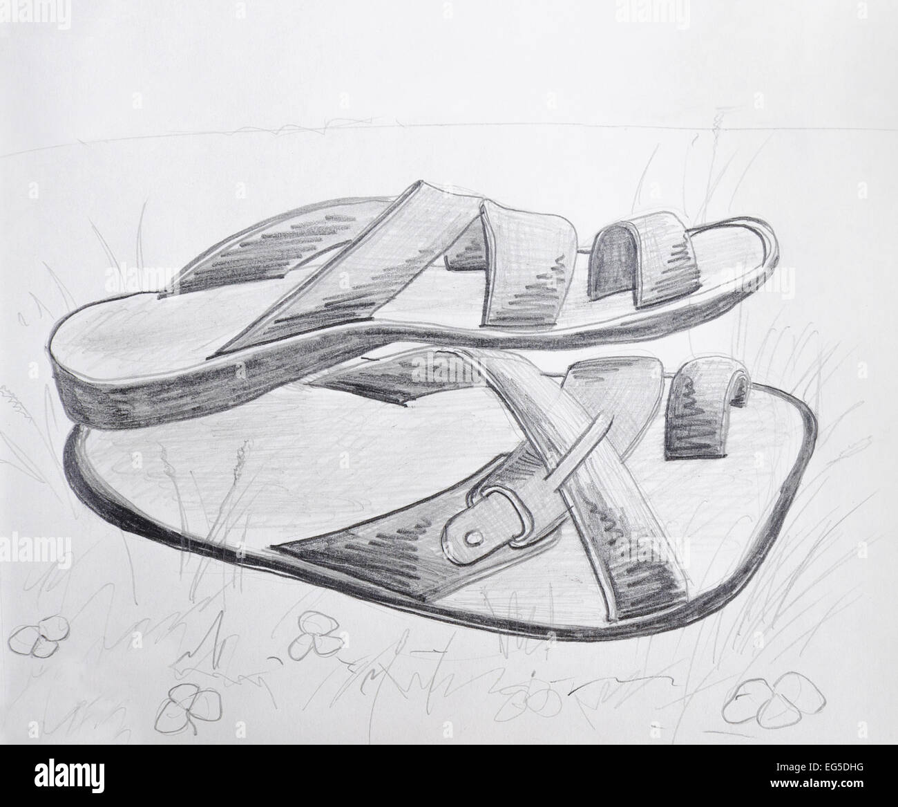 Sketch Of Slippers High Resolution