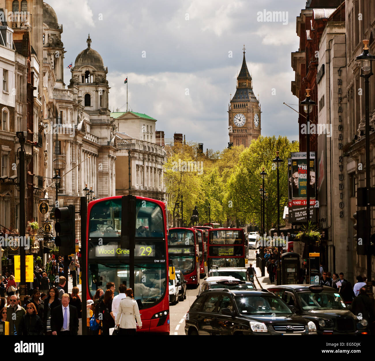LONDON - September 18: Busy street of London, England, the UK. London is one of the most crowded cities in the world. - Stock Image