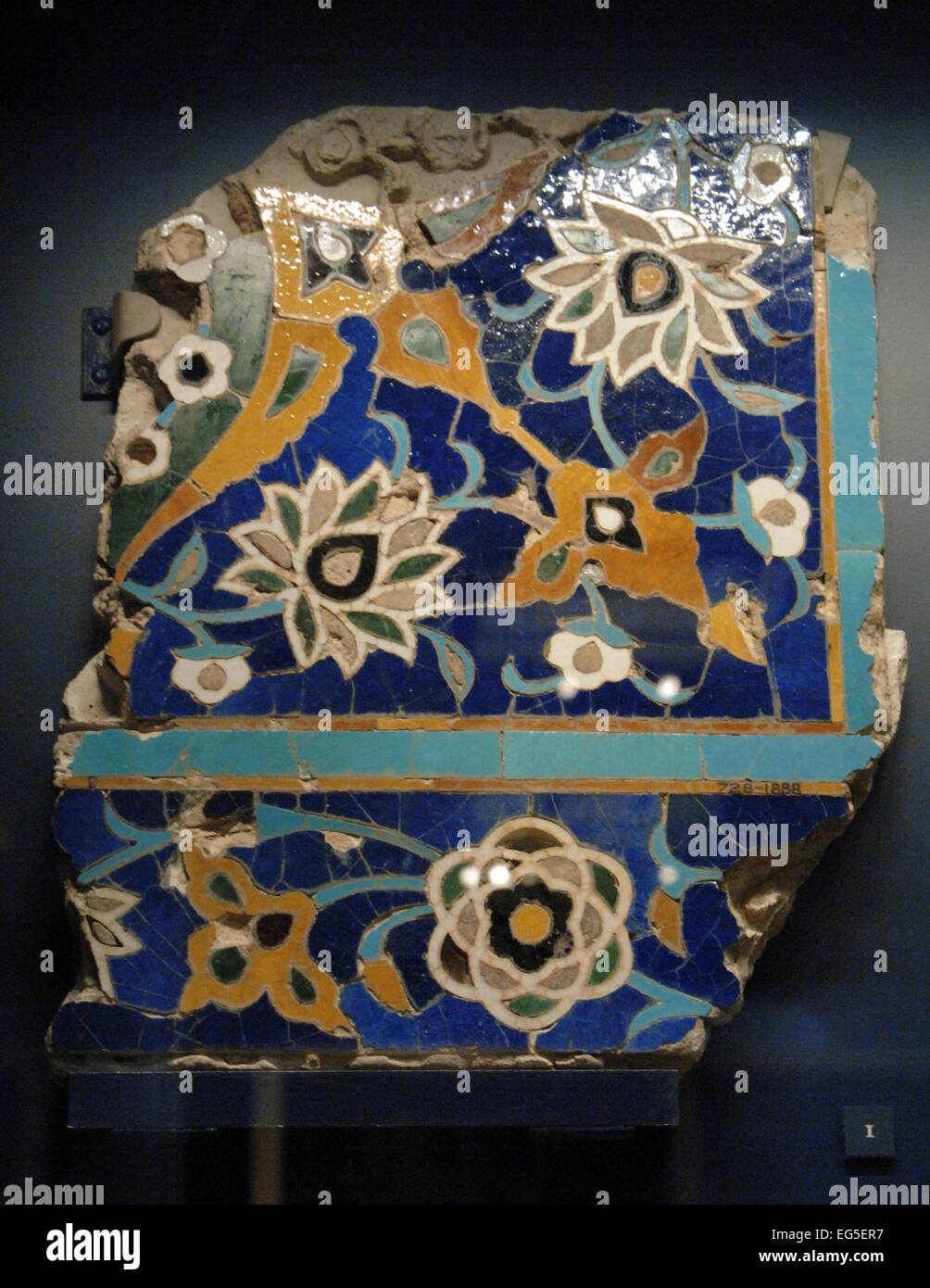 Islamic art. Iran. Glazed mosaic tile. 1450-1500. Floral design. Probably from Isfahan. Victoria and Albert museum. - Stock Image