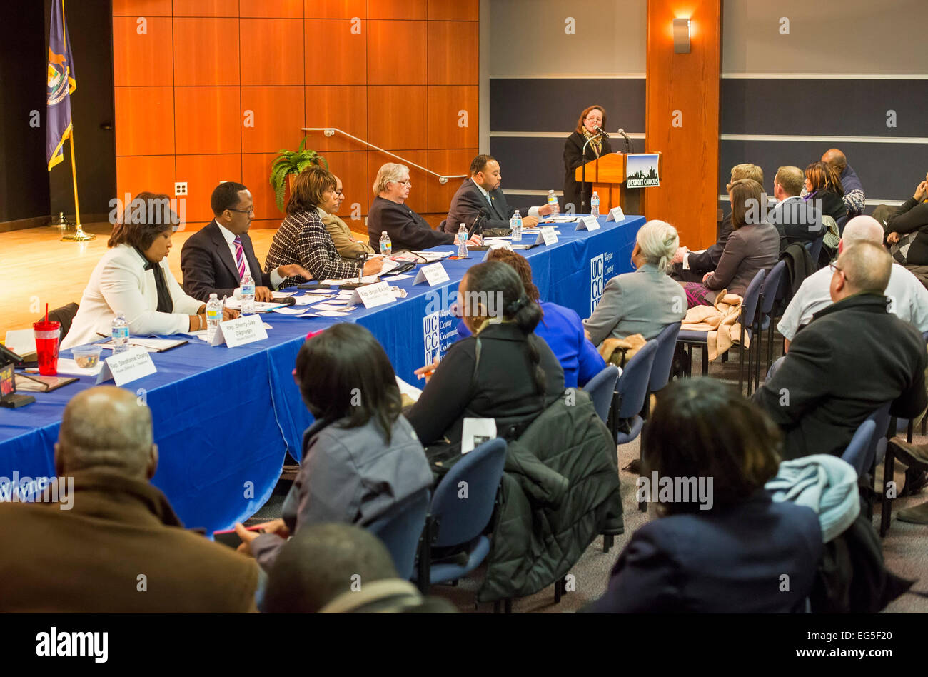 Detroit, Michigan - Members of the Detroit Caucus of the Michigan House of Representatives listen to constituents. - Stock Image