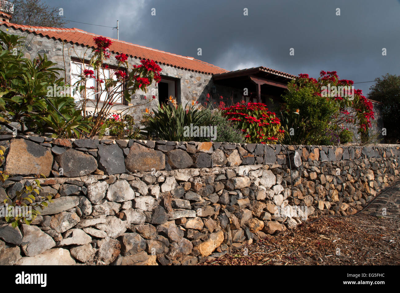 Rural buildings on La Palma are often constructed with dry stone walls. Many of them  are now used as holiday homes. - Stock Image
